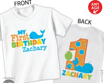 boy whale first birthday shirt or bodysuit • front & back design • personalized nautical beach 1st birthday outfit