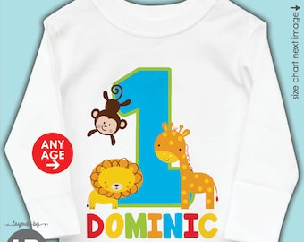 Zoo Birthday Shirt Or Bodysuit O ANY AGE Fun To Be One 1st BOYS Personalized Jungle Giraffe Monkey Lion