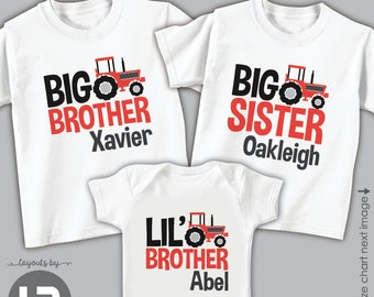06b26210 Red Tractor Big Brother Shirt Red Tractor Big Sister Shirt & Little Brother  Bodysuit or Shirt • 3 personalized sibling shirts