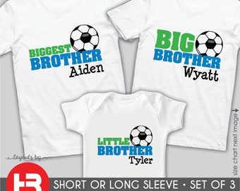 181017d2b7a Soccer Biggest Brother Shirt Soccer Big Brother Shirt & Soccer Little  Brother Shirt • 3 Personalized Soccer Shirts