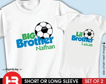 e2783315756 Soccer Big Brother Shirt & Soccer Little Brother Shirt • 2 Personalized  Soccer Shirts • Monogram Baby Shower gift • Matching Brother Shirts