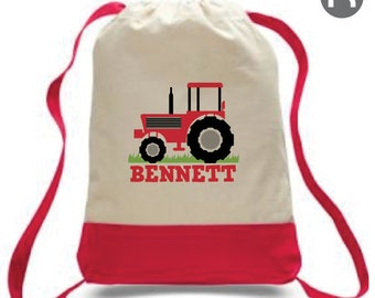 Red Tractor Backpack • Personalized Backpack • Printed Tractor Bag •  Farming Bag • Daycare Bag • Preschool Backpack • Tractor Birthday Gift 2c755893afbc5