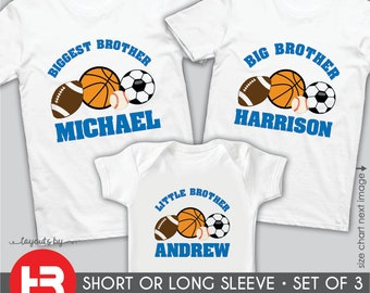 81bf41aa926 Sports Theme Biggest Brother Shirt Sports Big Brother Shirt & Sports Little  Brother Shirt • 3 Personalized Sports Shirts • baby shower gift