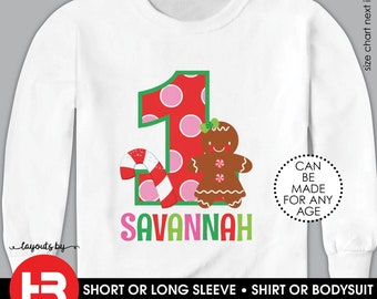 Girls Gingerbread Birthday Shirt or Bodysuit • Personalized Gingerbread Girl Shirt • Gingerbread Party Shirt