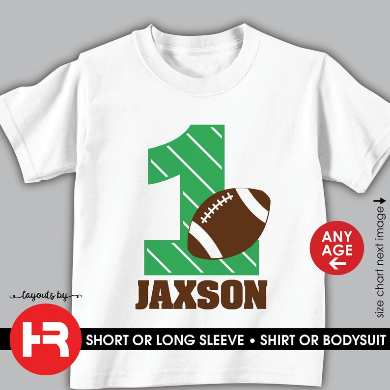Football Birthday Shirt Or Bodysuit For Any Age Personalized Football First Birthday Outfit