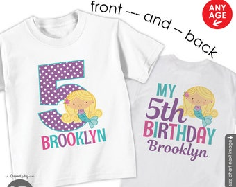 mermaid birthday shirt or bodysuit • personalized under the sea birthday t-shirt • girl's pool party outfit