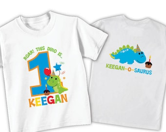 Dinosaur birthday shirt or bodysuit • personalized with child's age and name • Front & back birthday
