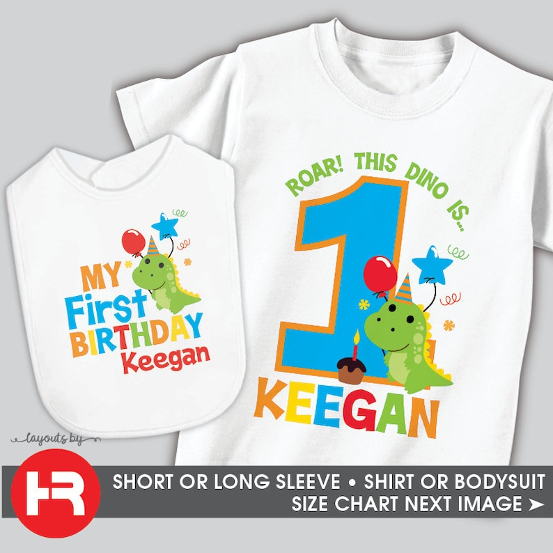 Dinosaur First Birthday Shirt Or Bodysuit With Matching