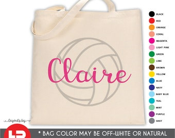 personalized volleyball tote bag • volleyball camp bag • volleyball team gift