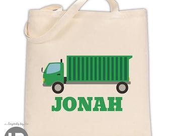 garbage truck tote • personalized trash truck bag • custom boys birthday gift
