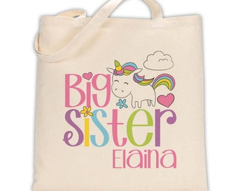 unicorn big sister tote bag • big sister tote bag perfect for a big sister kit • big sister gift bag