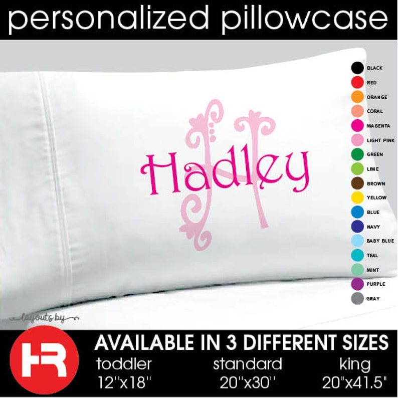 Monogram Pillowcase \u2022  Girls Personalized Pillow case \u2022 Printed Monogram Pillowcase \u2022 Girls Christmas Gift \u2022 Birthday Gift \u2022 Dorm Room Decor