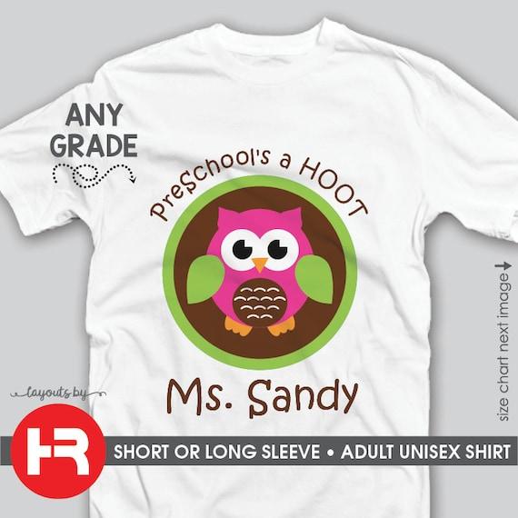 Team Teacher Shirts Adult Preschools A Hoot Owl Etsy