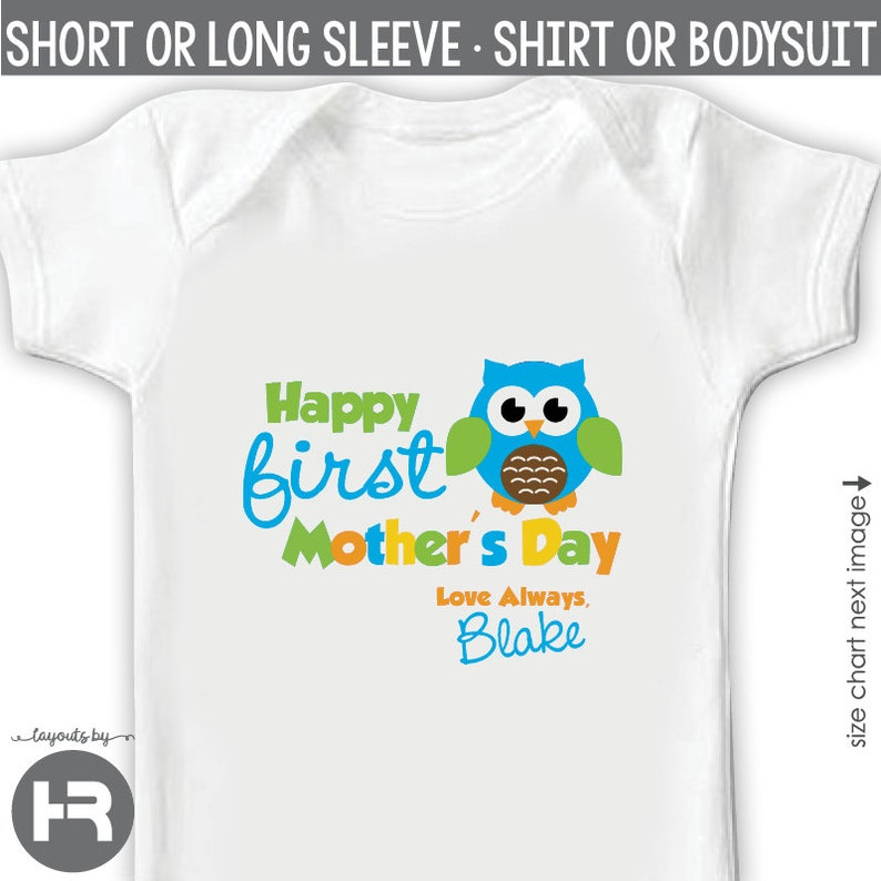 First Mother/'s Day Gift from Baby Boy \u2022 mother/'s day bodysuit or shirt \u2022 blue owl personalized first mothers day gift