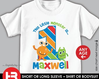 monster birthday shirt or bodysuit • any age • personalized monster t-shirt with child's age and name