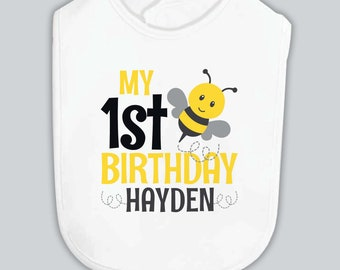 bumblebee 1st birthday bib • personalized bumble bee first birthday bib • summer birthday bib