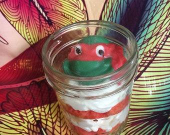 12 Ninja turtle cupcakes in a jar