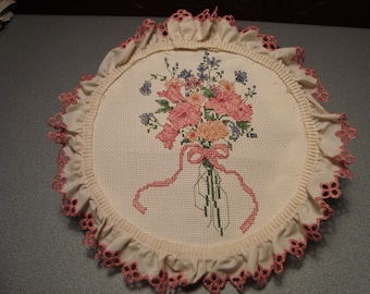 """Completed Cross Stitch Sampler """"Floral Pastels II"""" - Stoney Creek Collection"""