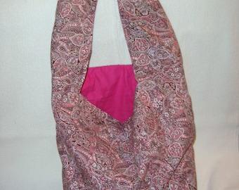 Mauve Paisley Print Tote Bag