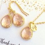 Wedding Jewelry SHIPS TOMORROW Bridesmaid Earrings Gold Bridesmaid Necklace Bridesmaid Jewelry Set Personalized Initial Necklace