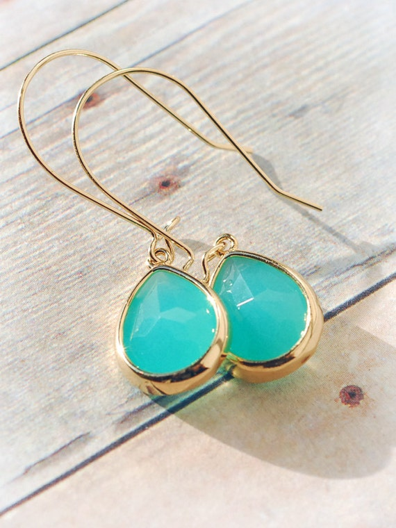 Drop Earrings Gold Lovely Turquoise Jewelry Turquoise Etsy