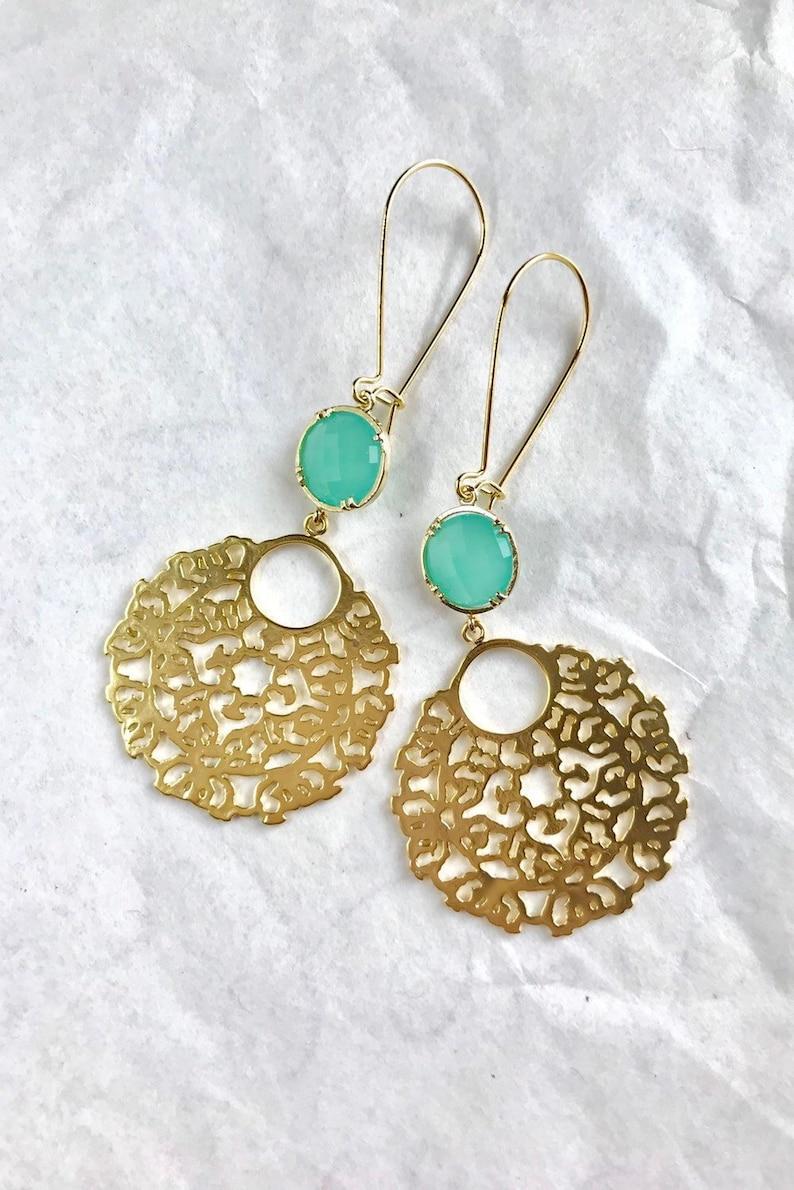 d8a5b56a6 Turquoise Chandelier Earrings Blush Dangle Earrings | Etsy