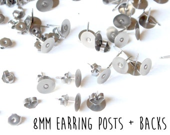 200 pieces - 100 pair - 8mm - Stainless Steel - Flat Pad - Earring Posts and Butterfly Nut Backs