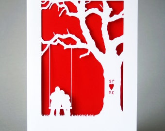 Personalised Papercut Anniversary Card (More colours available) *add your initials*- Paper Anniversary - 1st Anniversary - Papercut Card