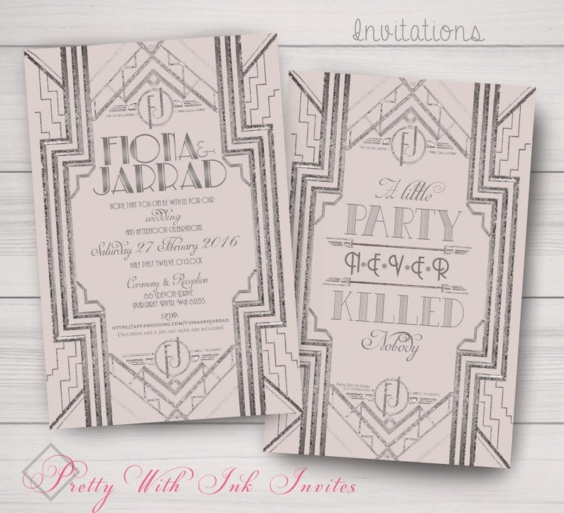 Customized Event Invitations White Roaring 20s Sweet Sixteen Shower SILVER GATSBY MONOGRAM Wedding Silver Ivory