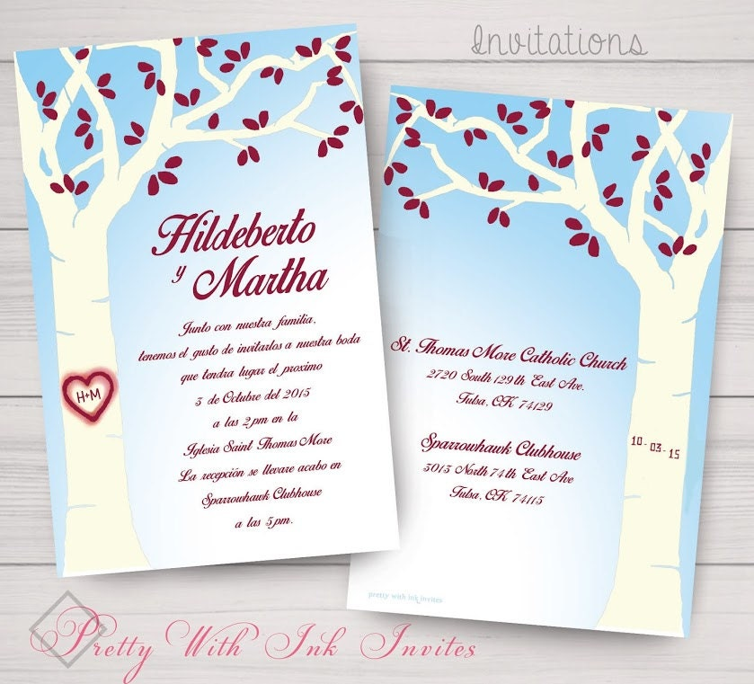 CARVED VALENTINE TREE Invitations And More To Match
