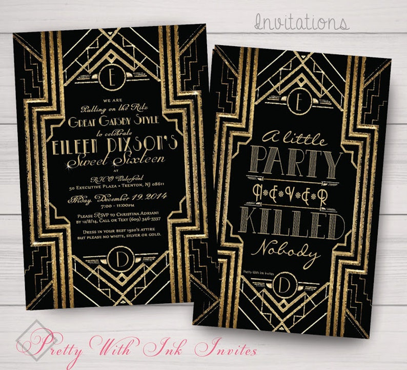 49ea85df0df GATSBY ROARING 20s Invitations. Rsvp Thank You Save the