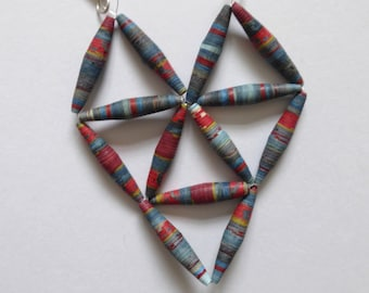 Grey, red and blue geometric paper bead necklace