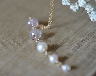 Moss Amethyst with Freshwater Pearl Strand Necklace