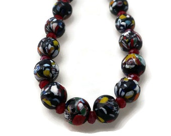 Multi Color Glass Bead Necklace, Marble Bead Necklace, Stained Glass Beads, Modern Art  Beads, Fashion Necklace, colorful beads