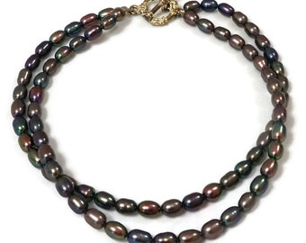 Two strands Black Pearls Anklet / Freshwater Pearl Anklet / Black Freshwater Pearl Anklet / Rice Pearls Anklet / Two strands Anklet