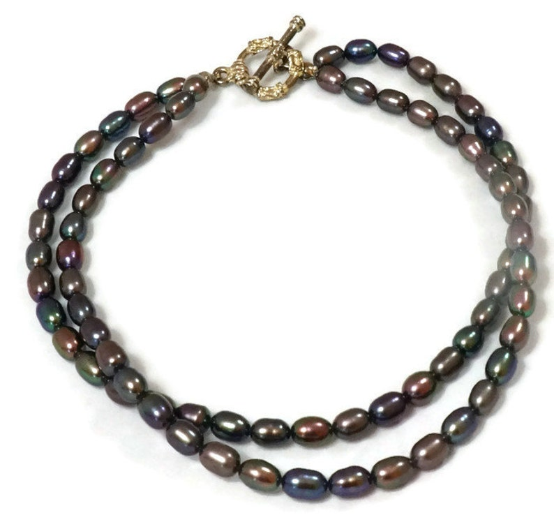 Two strands Black Pearls Anklet  Freshwater Pearl Anklet  Black Freshwater Pearl Anklet  Rice Pearls Anklet  Two strands Anklet