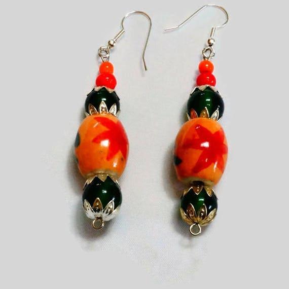 Naranja Corazón en forma de grano colgantes pendientes de cerámica