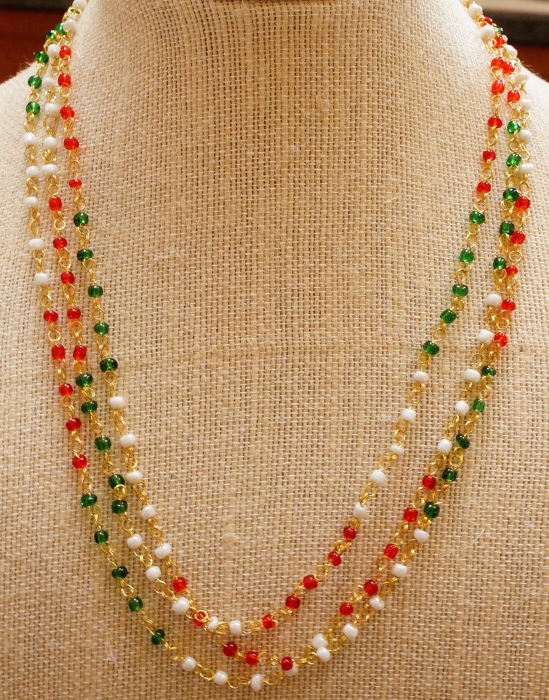 Wire Wrapped Multi color Necklace  Multi color Bead Necklace  3 Necklaces