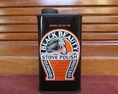 Black Beauty Stove Polish Vintage Tin Horse Advertisement Jet Black Black Beauty Enamel Collectible Tin