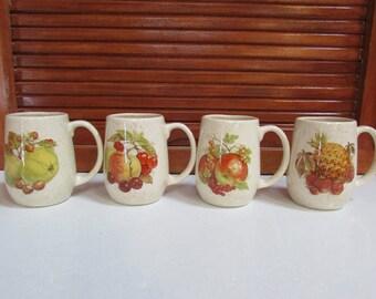 1980 Fruit Motif Coffee Mugs Set of 4 Ceramic JG