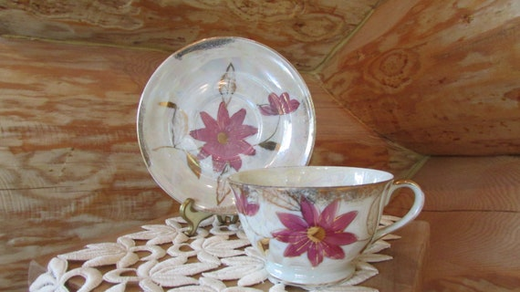 Vintage Bone China Iridescent Floral Pattern Tea Cup and Saucer