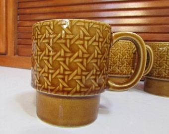 Vintage Brown Ceramic Lattice Stackable Coffee Mugs Set of Four