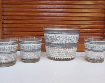Jeanette Patrician Hellanic Wedgewood Ice Bucket/3 Cordial Glasses