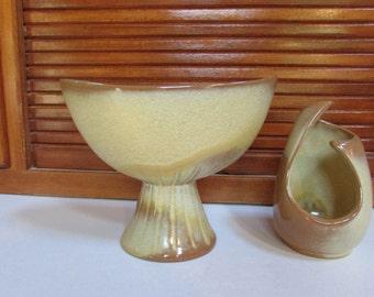 Frankoma Art Deco Vase and Tealight Set of 2 Osage Brown