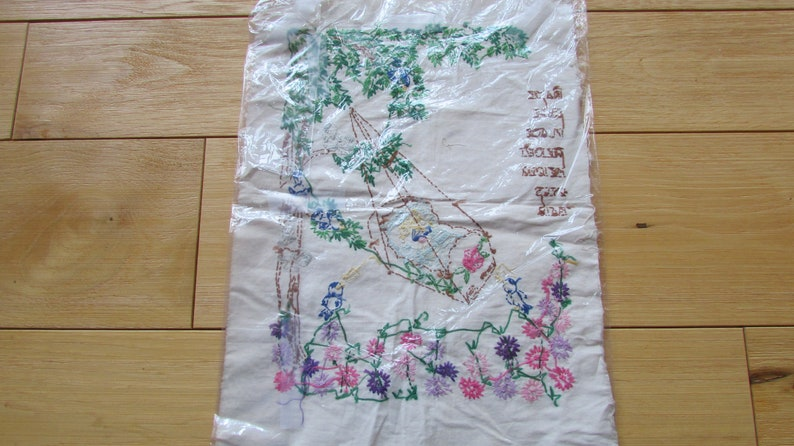 Vintage Newborn Embroidery Fabric Name Date Place Eyes Baby Swinging Girl