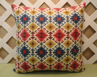 Tribal Pillow Cover in Blue Red Gold Cream / Ikat Pillow / Geometric Pillow / Blue Red Pillow / Accent Pillow / 18 x 18 Pillow