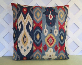 Ikat Pillow Cover in Blue Red Yellow Grey Beige / Geometric Pillow / Blue Red Pillow / Accent Pillow / Decorative Pillow / 18 x 18 Pillow