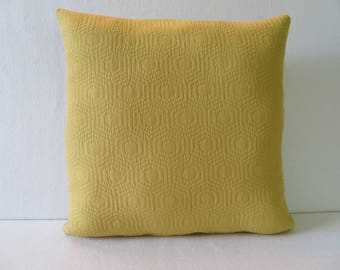 Quilted Look Mustard Yellow Pillow Cover / Yellow Pillow / Geometric  Pillow / Accent Pillow / 18 x 18 Pillow