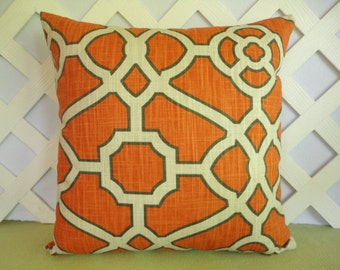 Abstract Pillow Cover/ Geometric Pillow/ Orange Pillow/ Decorative Pillow/ Orange, Ivory, Charcoal Black Pillow/ Accent Pillow/ Home Decor