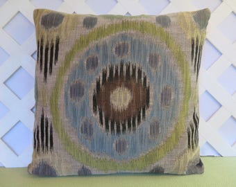 Ikat Pillow Cover in Blue Brown Green Yellow Beige / Geometric Pillow / Blue Brown Pillow / Decorative Pillow / 18 x 18 Pillow
